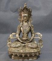 Китайский Серебряный Буддизм Голова Дракона Amitayua Статуя Будды Тибет Латунь Joss металла ремесло