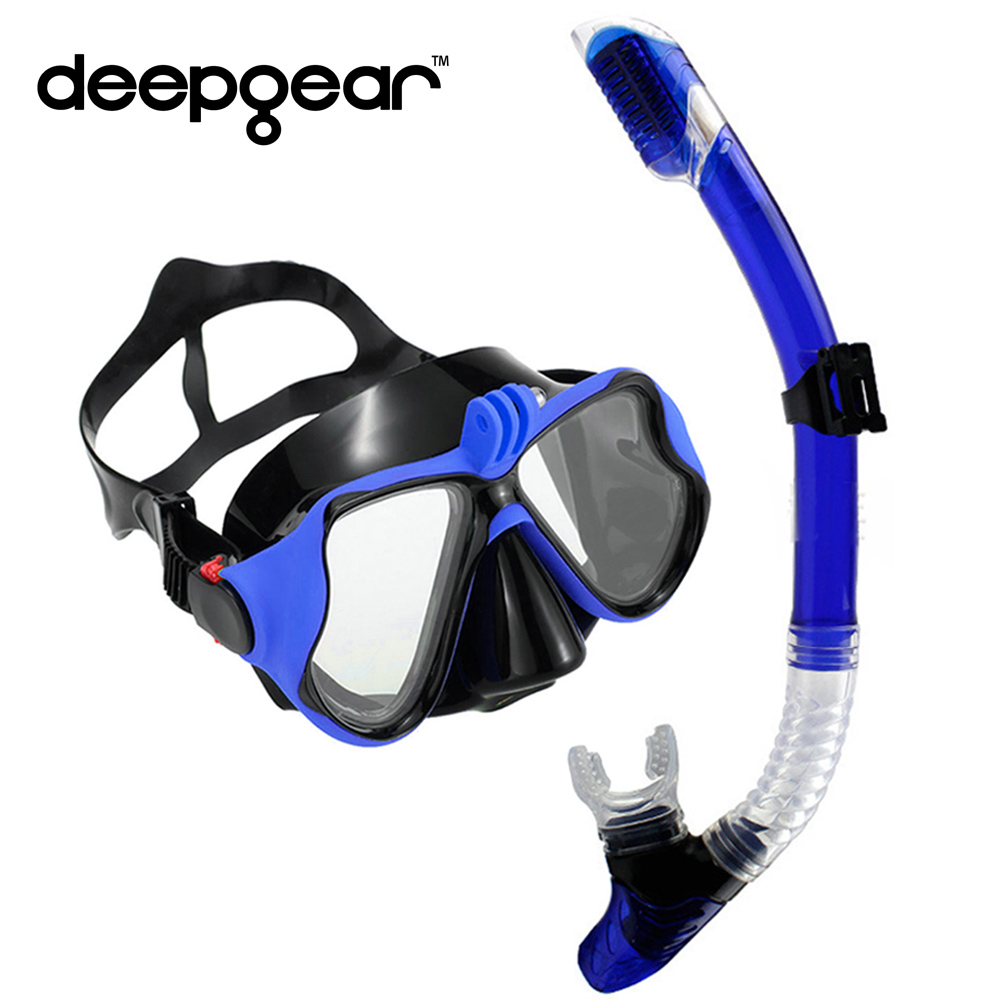 DEEPGEAR Tempered Glass Myopia snorkel set Adult scuba diving mask Gopro Camera mount Dry Snorkel Diving Set  Scuba Snorkel Gear diving equipment