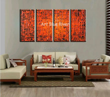 4 piece canvas wall art abstract modern decorative handmade red Knife paint oil painting on canvas for living room decoration