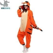 728998af88ed3 HKSNG Nouveau Animal Adulte Tigre Du Bengale Pyjamas Bande Dessinée Pieds Kigurumi  Onesies Cosplay Costumes Unisexe