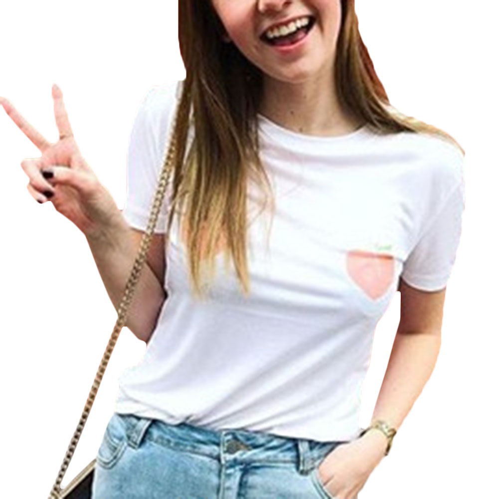 2017 Womens T shirt White Tee Breast Printed T-Shirt Tees Street  Harajuku Womens Tshirt