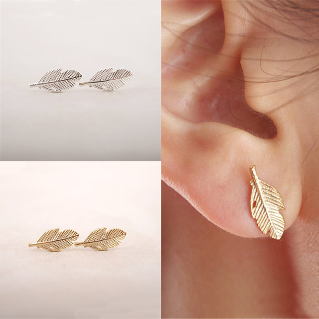 Lnrrabc 2018 New 1 Pair Women Earrings Las Cute S Feather Ear Stud Leaf Jewelry