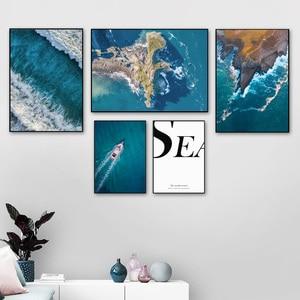 Image 2 - Sea Island Barco de playa citas paisaje cuadro sobre lienzo para pared carteles nórdicos e impresiones cuadros de pared para decoración para sala de estar