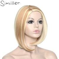 Similler Ombre Synthétique Cheveux Courts Blonde Perruques Yaki Droite Coupe de Cheveux Point Culminant Naturel À La Recherche