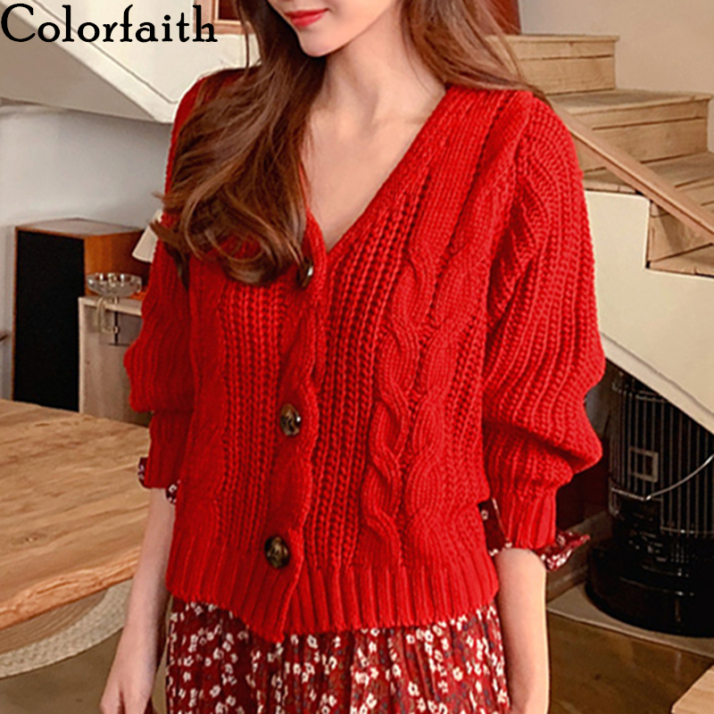 Colorfaith Korean Style Women's Sweater Autumn Winter 2019 Red  V-Neck Cardigans Casual Solid Single Breasted Loose Tops SW358
