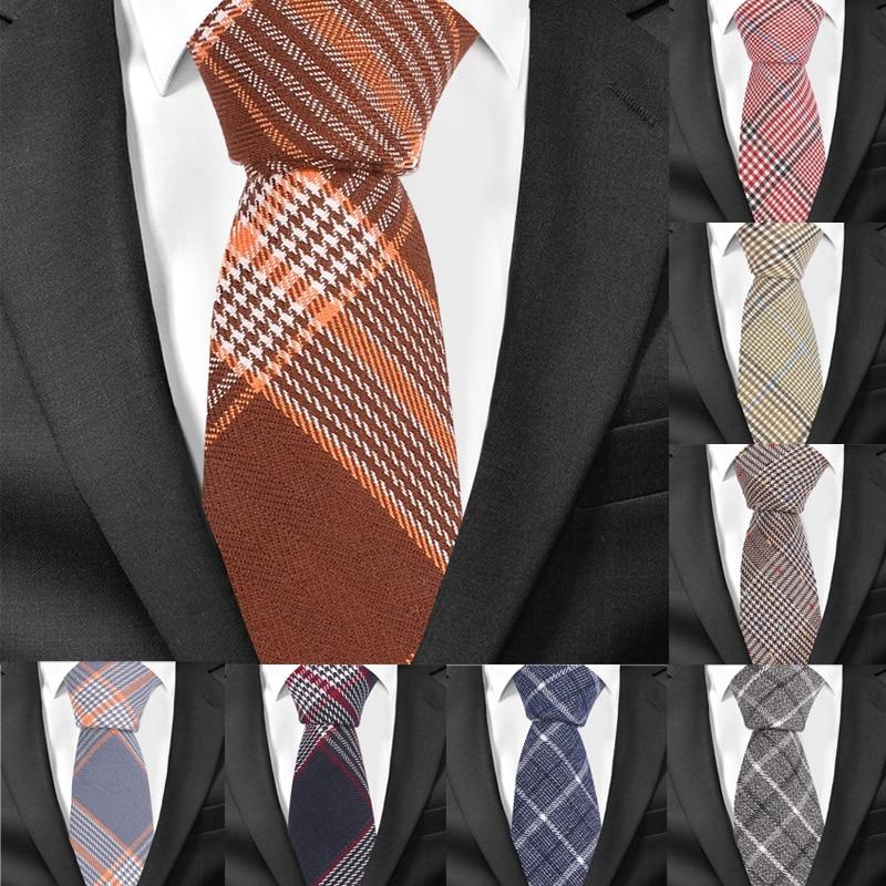 Casual Plaid Men Tie Classic Cotton Neckties For Men Formal Skinny Ties For Wedding Party 6cm Width Groom Neck Ties Gravatas