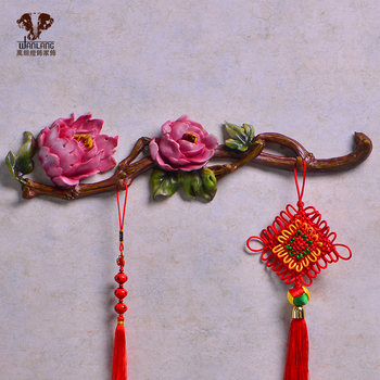 head Arts Crafts The Chinese Peony hook hanging creative decorative wall coat rack row hook bedroom wall decoration hook clothin