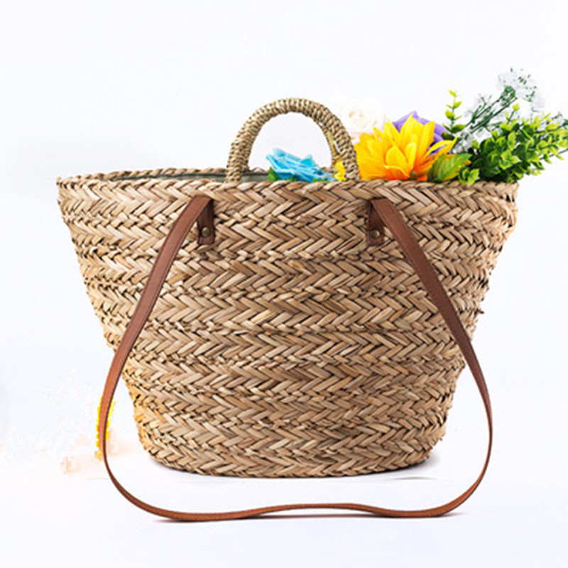 где купить New 2018 checking Rattan woven Round Handbag Bohemia Style Beach Circle Bag INS Popular Retro Straw Knitted Summer Beach Big Bag по лучшей цене