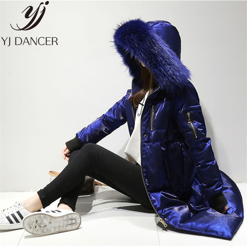Down   Jacket Long Parkas Female Winter Fashion New White Duck   Down   Warm Gold velvet Loose Hooded Big fur collar   Down     Coat   L0285