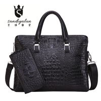 New Fashion Men Alligator Embossed PU Leather Messenger Bags Big Business Crossbody Shoulder Bag With Thread Crocodile Pattern