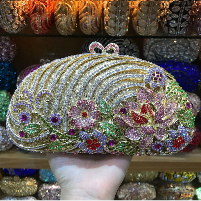 Crystal Rhinestones Women Evening Clutch Bag Bridal Wedding Clutches Party Dinner Prom Chain Shoulder Handbag Purse