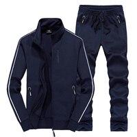 Комплект спортивной одежды Для мужчин свободные плюс Размеры спортивный костюм ветрозащитный Для мужчин s спортивная одежда 2018 новый теплы