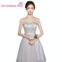 Phong cách nước giá rẻ xám modest cô gái sweetheart bridesmaid dresses ngắn bóng gowns dưới 100 dress wedding guest H3801
