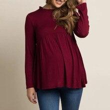 Высококачественная Женская одежда для беременных, топы с длинным рукавом для кормящих, блуза для беременных, 2 цвета, Прямая поставка@ 30