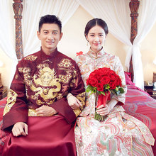 Traditional Costume show chinese style Claret red groom married wedding Long Robe male clothing Groom formal evening Gown