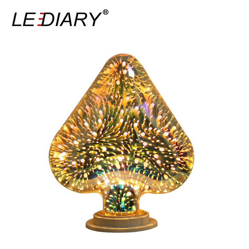 LEDIARY 3D Heart Shape Decoration Lamp E27 Novel LED Bulb 100V-240V Night Light Real>4W Glass Firework Effect No Flicker EU US glass brick bulb lamp led night light 220v