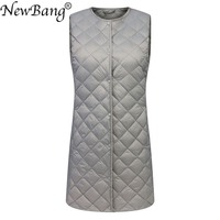 NewBang Matt Fabric Long Women's Vest Ultra Light Down Vest Women Waitcoat Female Slim Sleeveless Without Collar Jacket