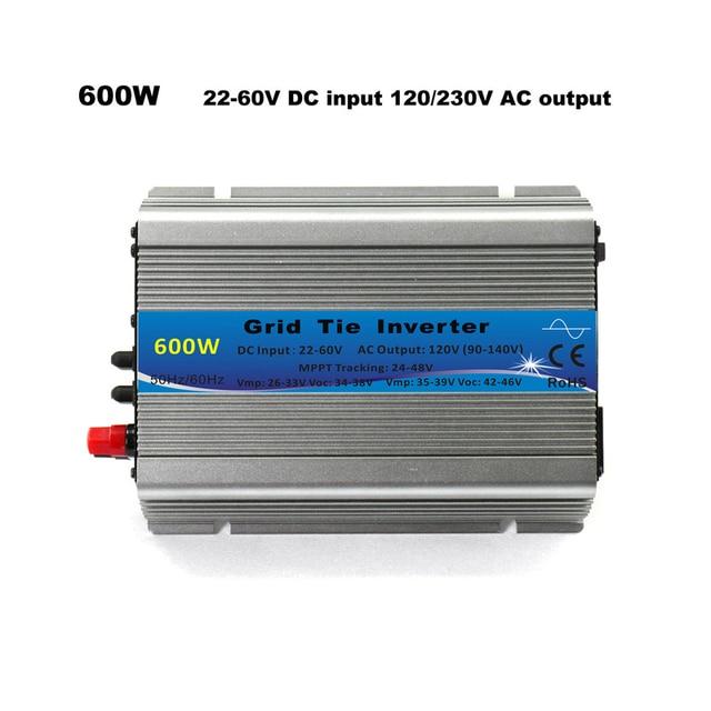 محول شبكة التعادل 600 واط MPPT مايكرو 30 فولت 36 فولت لوحة 72 خلايا وظيفة نقية شرط موجة 110 فولت 220 فولت الناتج على شبكة التعادل العاكس 22 60 فولت تيار مستمر