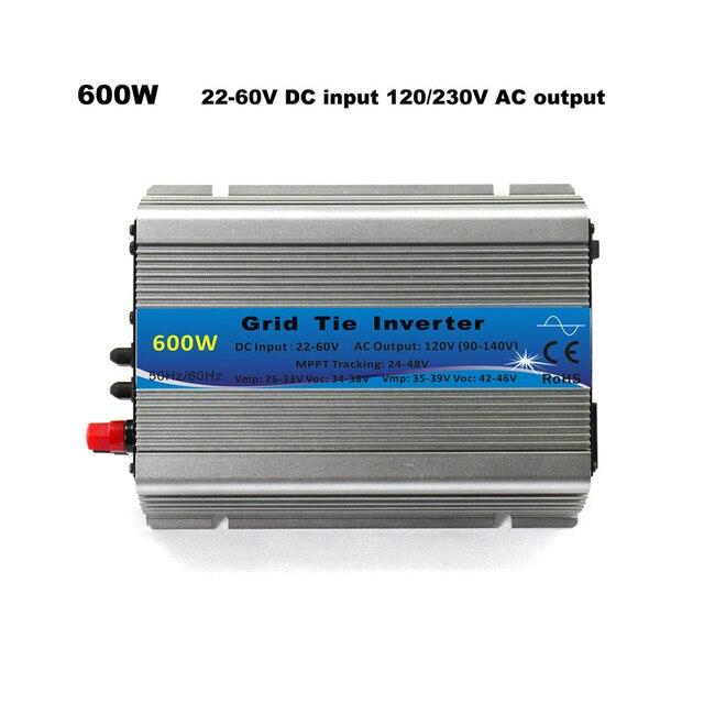 Grid Tie Inverter 600W MPPT micro 30V 36V Panel 72 Cells Function Pure Sine Wave 110V 220V Output On Grid Tie Inverter 22 60V DC