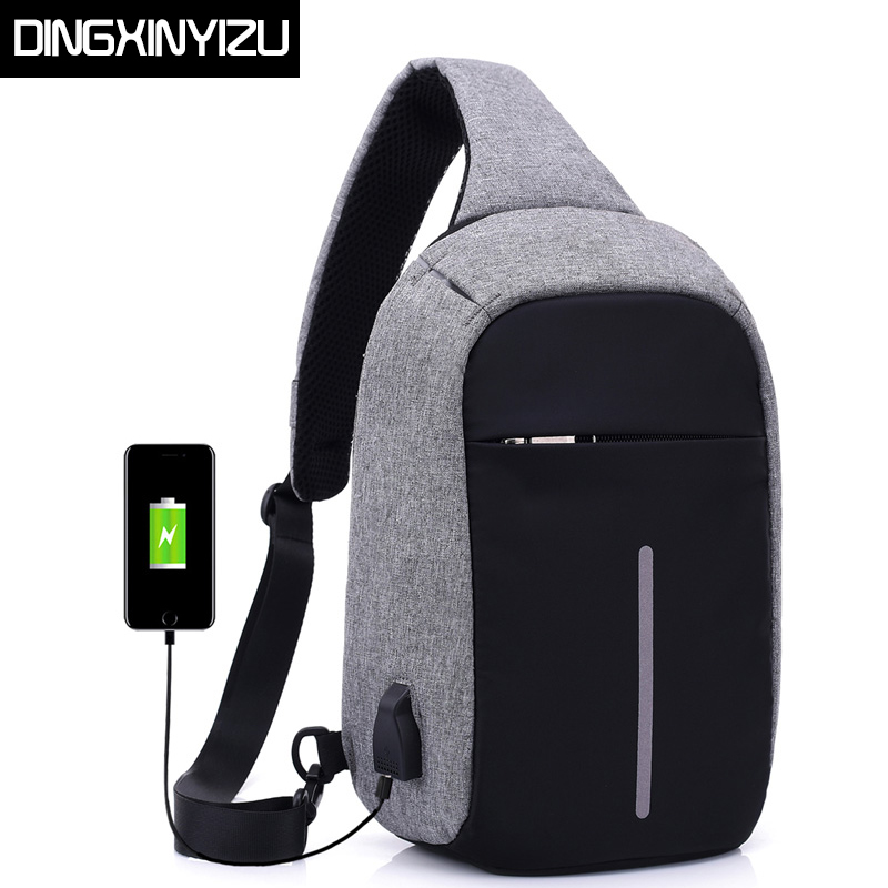 DINGXINYIZU Canvas Men Chest Packs Women Single Shoulder Strap Back Bag USB Charge Crossbody Bags Casual Travel Chest Bag Bolsas