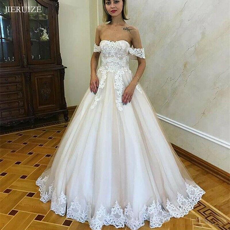 JIERUIZE White Lace Appliques Off The Shoulder Wedding Dresses 2019 Lace Up Back Wedding Gowns Bride Dress Abito Da Sposa