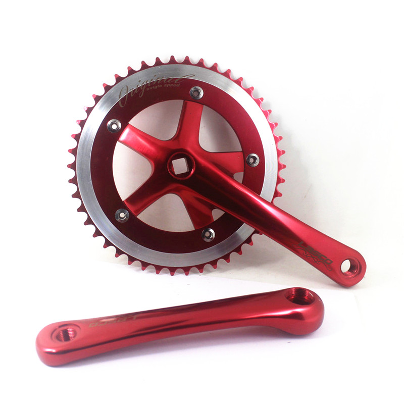 Red Fixed gear Single Speed Track Cranks Crankset 170mm 46t Silver