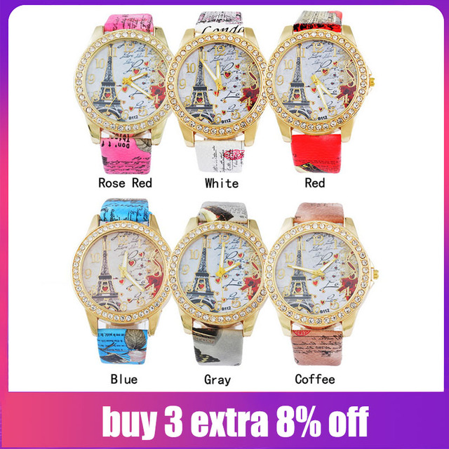 2019 Eiffel Tower Love Pattern Watches Women Fashion Leather Strip Clock Watch Q