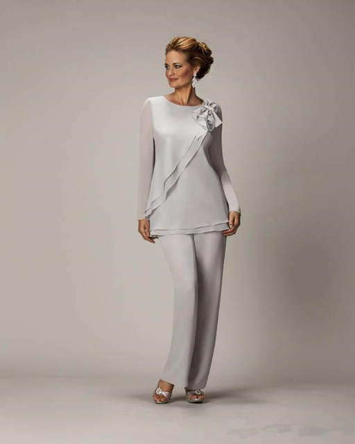 80749ad87de placeholder Hot Cheap Silver Mother s Pants Suit For Mother of The Bride  Groom Ladies Womens Chiffon Wedding