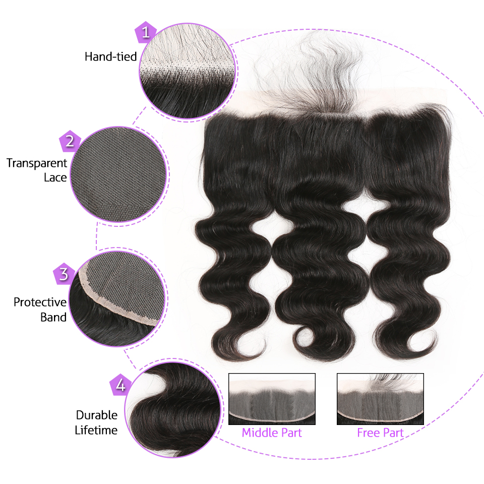 Angel Grace Hair Brazilian Body Wave Frontal Free Part 100% Human Hair Brown/Transparent 13*4 Ear to Ear Lace Frontal Remy Hair