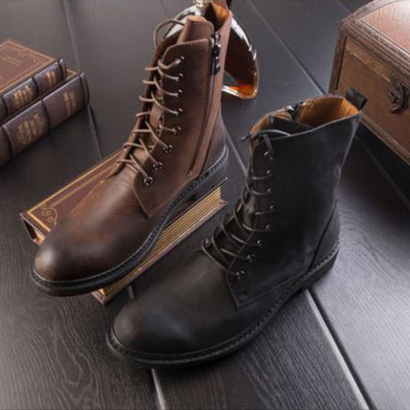 DAVIKO winter British men boots retro Martin boots really leather trend in the tube cowboy boots high to help men's shoes HP-6