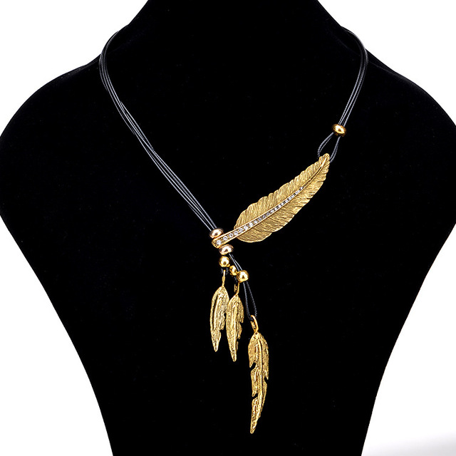Necklace alloy feather statement necklaces pendants vintage rope necklace alloy feather statement necklaces pendants vintage rope chain necklace women accessories wholesale jewelry dropshipping aloadofball Choice Image