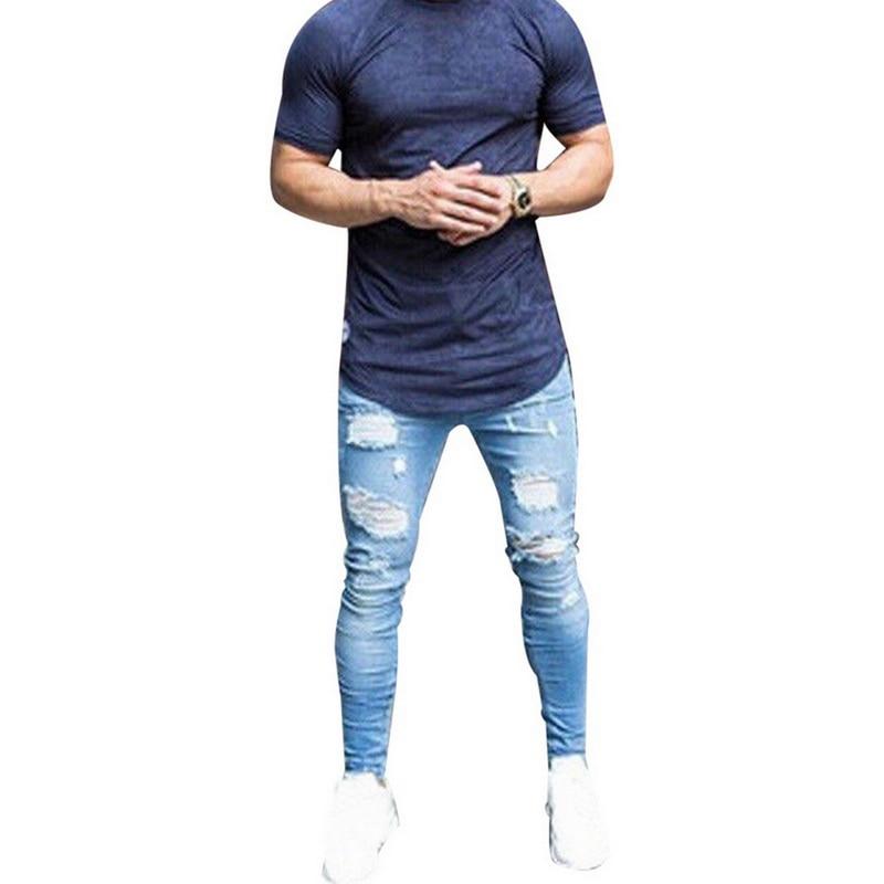 Monerffi Jean Clothing Trouser Pencil-Pants Vintage-Hole Ripped Hip-Hop Streetwear Male