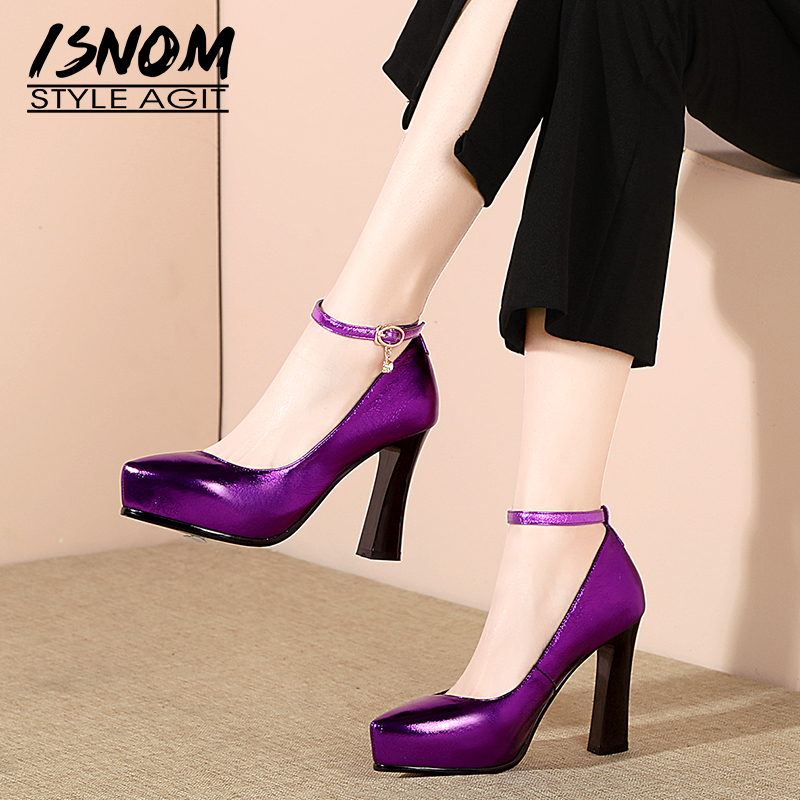 ISNOM Thick High Heels Pumps Women Crystal Pointed Toe Footwear Ankle Strap Shoes Female Cow Leather Shoes Woman Spring 2019 NewISNOM Thick High Heels Pumps Women Crystal Pointed Toe Footwear Ankle Strap Shoes Female Cow Leather Shoes Woman Spring 2019 New