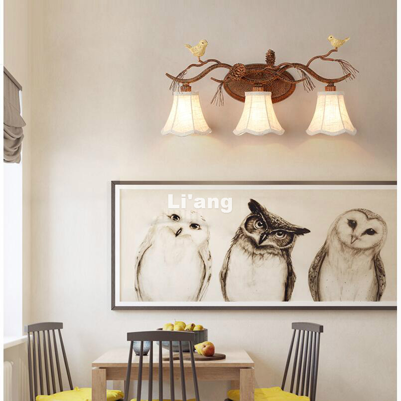 Free Shipping Art Deco Retro Bird Design Color Wall Lamp American Country Wall Light Bird Design Lampshade Wall Sconce 110-240V newly nordic wall lamp free shipping w43cm 2l american country style nordic fabric shades vintage aisle bird design wall lamp