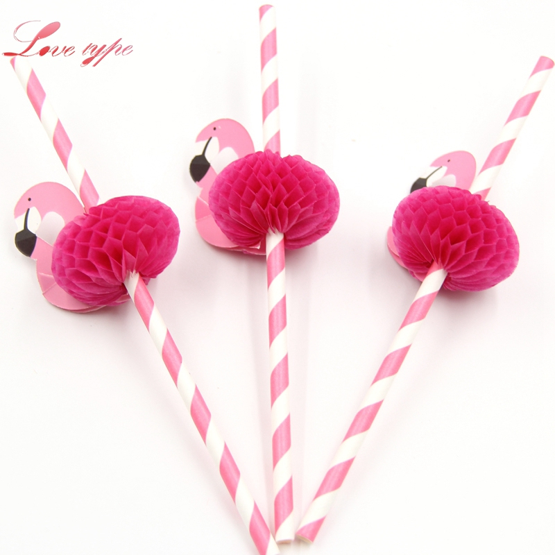 12PCS Flamingo 3D Cocktail Drinking Straw Disposable Party Decoration Kids Birthday/Wedding/Beach Swimming Pool Party Supplies