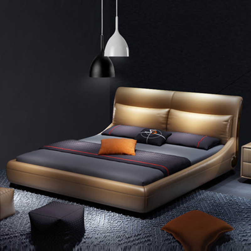 Simple Modern Nordic Leather Double Wedding Leather Bed Furniture simple odern nordic leather double wedding leather bed furniture
