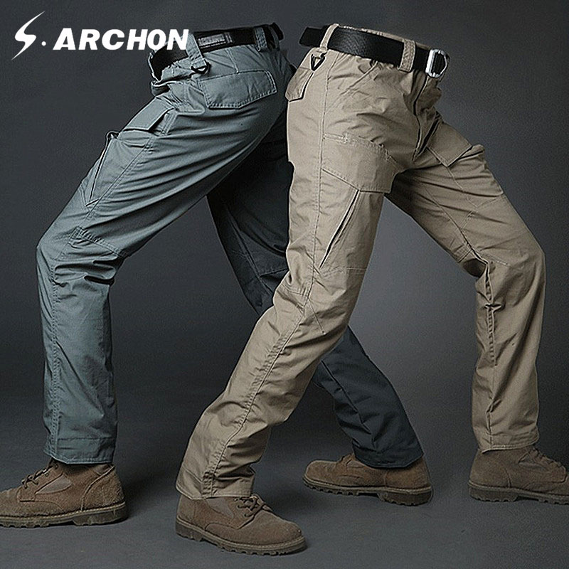 s.archon Summer tactical army camouflage Multi-pocket slim pants Breathable Scratch resistant and waterproof