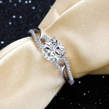 e Jewelry 925 Sterling Silver Rings Prong Setting Zircon Stone Double Shanks Engagement Wedding Rings for Women E111