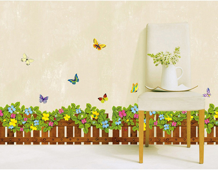 Fence flowers and butterflies wall sticker vinilos paredes ...