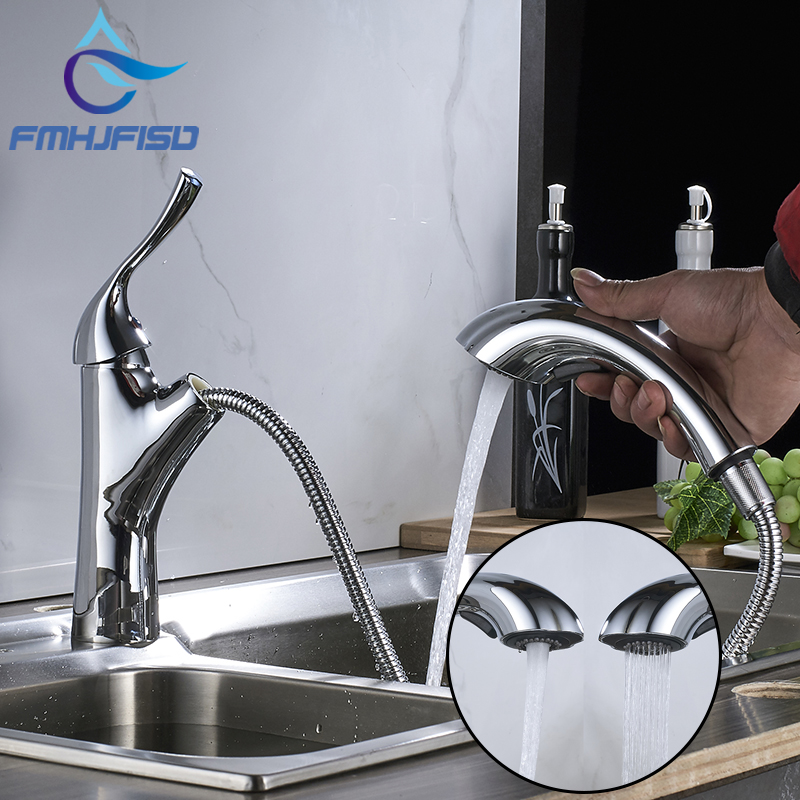 Kitchen Faucet Design 360 Rotating Pull Out Faucet Chrome Silver Swivel Kitchen Sink Mixer Tap