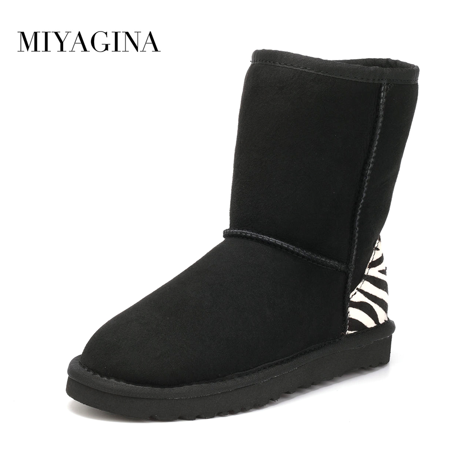Top Quality 2018 New Fashion Real Wool Mujer Botas Genuine Sheepskin Leather Snow boots Natural Fur Winter Shoes For Women