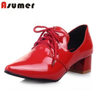 AISIMI 2015 New Fashion Patent Leather Women Pumps Mid Heels Red Black Silver Party Dress Shoes