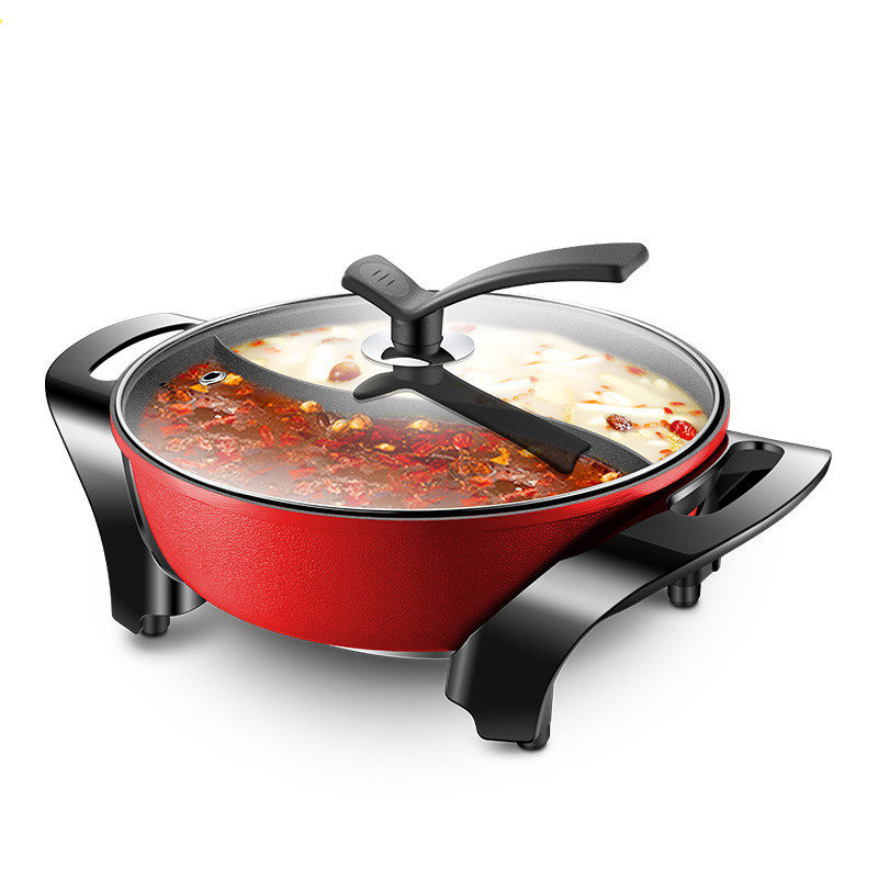 220V AUX Electric Hot Pot 4L Multifunctional Non-stick Electric Frying Pan Two-flavor Hot Pot WR-Y15040-03N edtid multifunctional electric cooker mini heat pan students hot pot without oil fume nonstick frying pan special offer