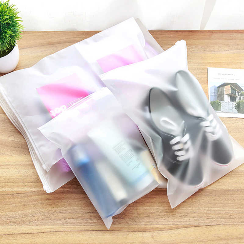 Classified Storage Travel Storage Semitransparent Multipurpose Waterproof Packing Bag Good Sealing 1Pcs Multi Size With Zipper