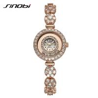 SINOBI Rose Gold Women Watch Crystal Diamond Alloy Jewelry Band Womens Watches Bracelet Relogio Feminino Elegant Quartz-watch