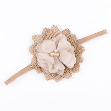 1PCS Kids Girl Chiffon Flower Headband Burlap Flower Hair Band Accessories Headwear Newborn Photo Shoot Hair Accessories(China)