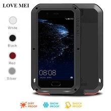 Dành Cho Huawei P20 Pro Lite Ốp Lưng Love Mei Mạnh Mẽ Chống Sốc Kim Loại Nhôm Kính Cường Lực Gorilla Glass Cover Dành Cho Huawei P10 Plus p9 Plus