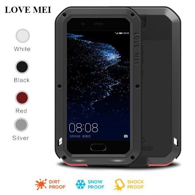 Dla Huawei P20 Pro Lite przypadku miłość MEI potężny odporny na wstrząsy aluminium Metal szkło gorilla pokrywy skrzynka dla Huawei P10 Plus P9 Plus