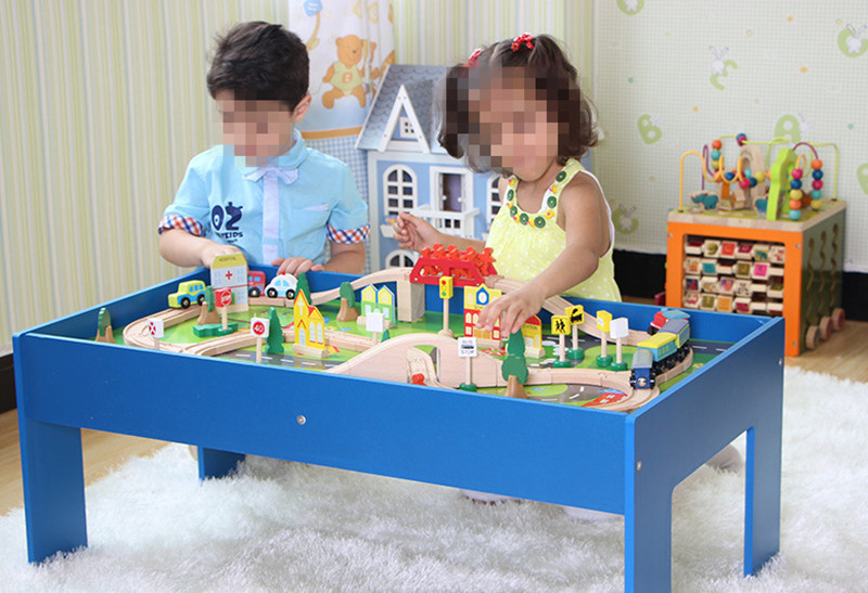 Wooden toy roller coaster track 90 piece gaming of tables wooden blocks wooden educational toy baby gift