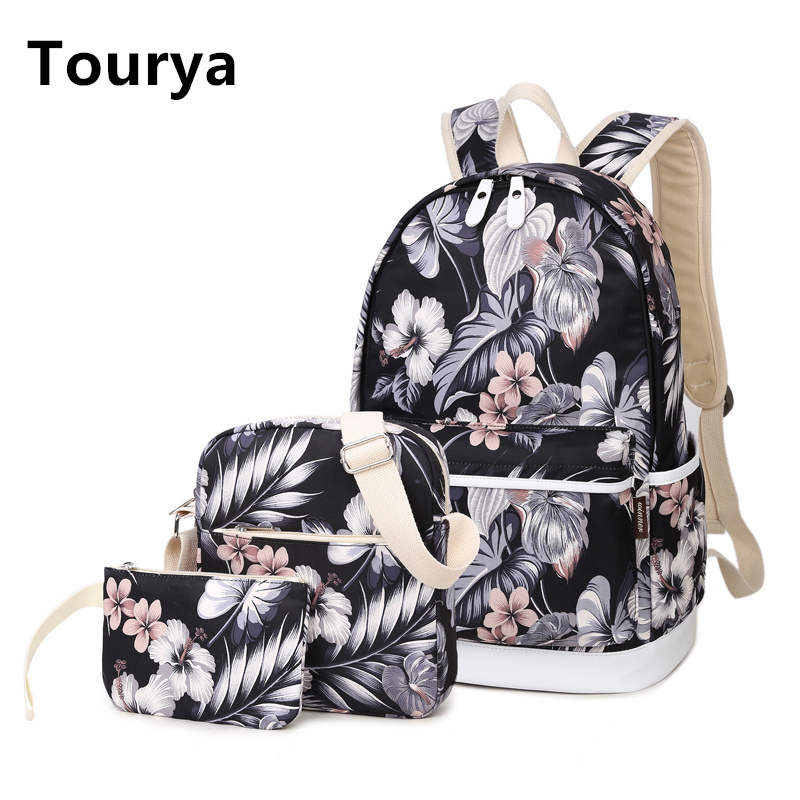 Tourya 3pcs/Set Backpack Women Flower Printing Backpacks School Bags Bookbag for Teenagers Girls Laptop Rucksack Travel Daypack
